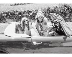 Hjordis Tersmeden - esposa del célebre actor británico David Niven- en su Alfa Romeo, despegando un día de descanso con su Lebrel Afgano en Saint-Jean-Cap-Ferrat.